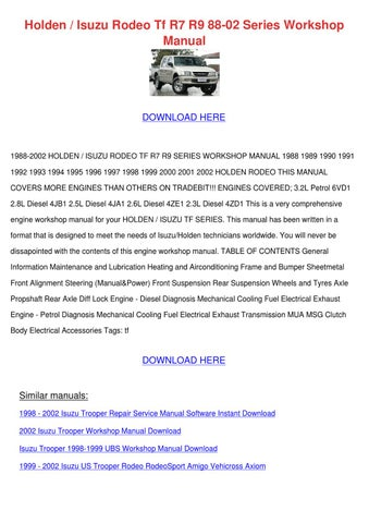 holden rodeo owners manual pdf