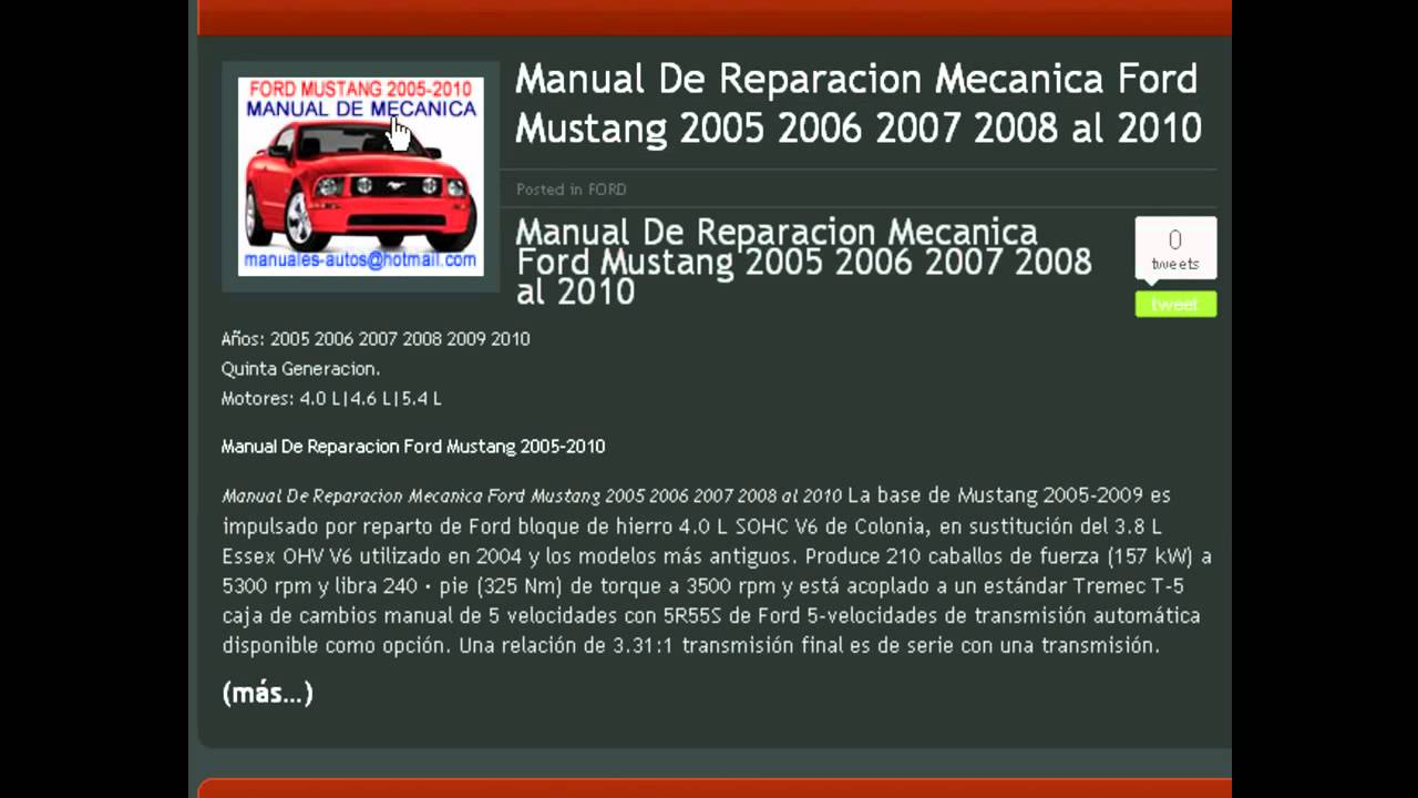 2005 ford mustang owners manual