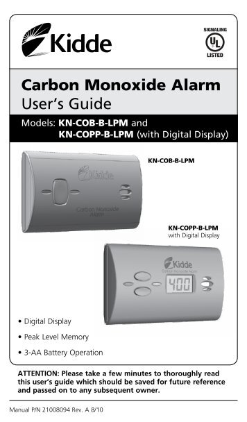 kidde nighthawk carbon monoxide detector user manual