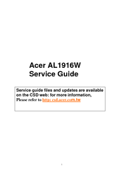 acer lcd monitor al1916w service manual