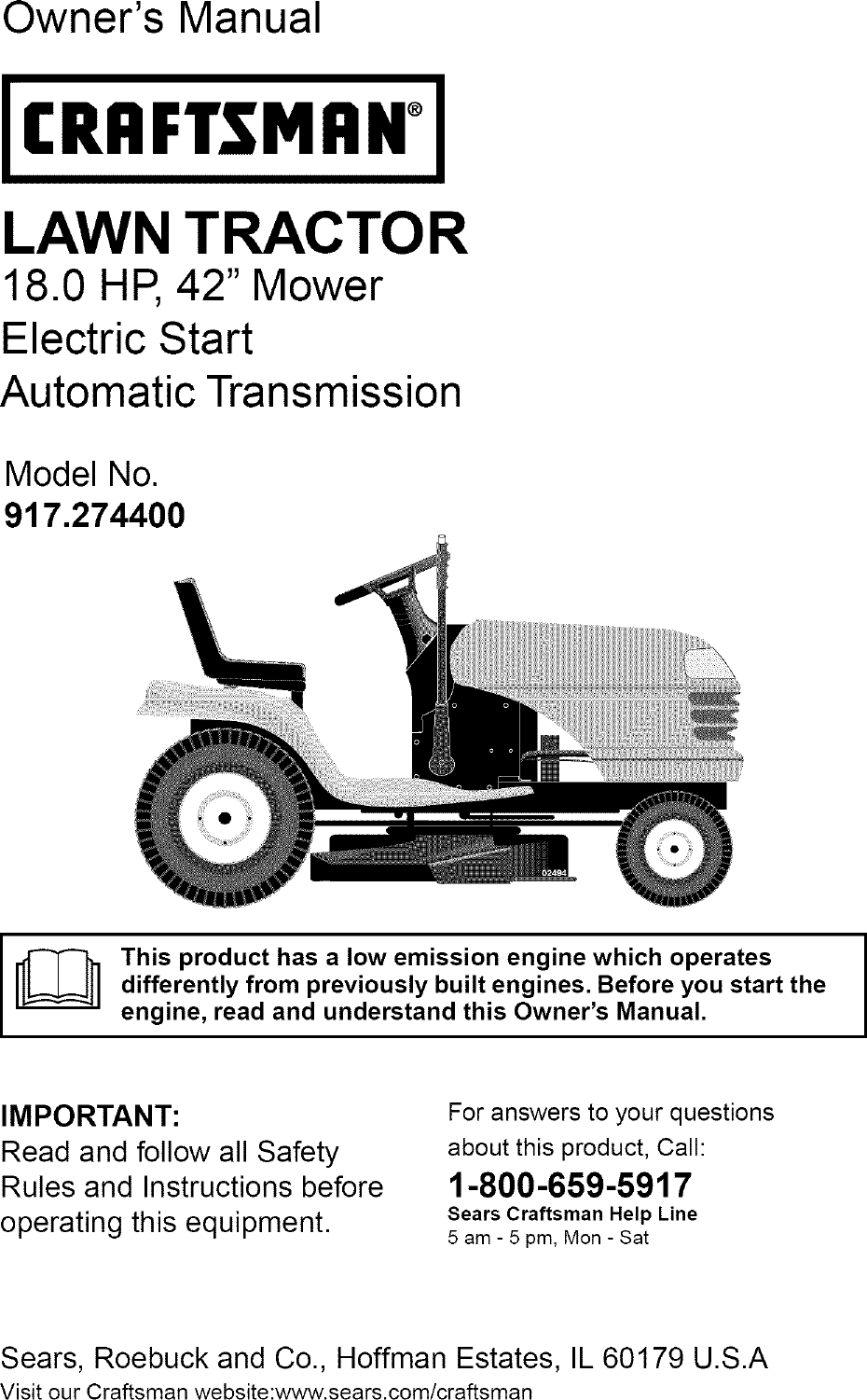 Owners Manual For Craftsman Lt1000 Lawn Tractor